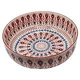 LA VITA VIVA Große Keramikschüssel mit rot Blauer Bemalung - Perfekt als Salatschüssel, Servierschale, Suppenschüssel, Obstschale