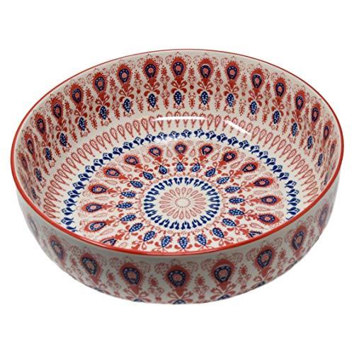 LA VITA VIVA Servierschale aus Keramik - Salatschüssel mit rot Blauer Bemalung Geeignet als Suppenschüssel, Snackschüssel und Keramikschüssel