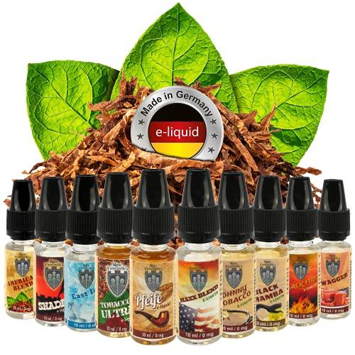 Riccardo Probierset New Firecastle Tabak E-Liquid 10x10 ml, e Liquid Set für e-Zigarette, 50 % PG / 50 % VG, ohne Nikotin