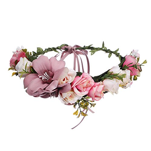 AWAYTR Bohemia Big Lilies Floral Crown Party Wedding Hair Wreaths Hair Bands Flower Headband (Pale Mauve)