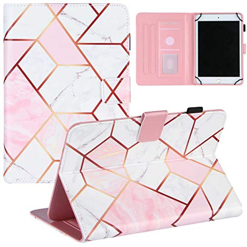 """Miagon Universal Coque pour Tout {8""""}(Samsung Android Ipad Amazon kindle etc) Tablet Marbre Coque,Folio Cuir PU Étui Cover Magnétique,Rose Blanc"""