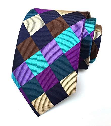 Men's Colorful Silk Ties Purple Teal Brown Peacock Navy Blue Champagne Plaid Neckties Diamond Patterned Silk Tie