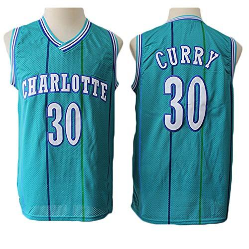 LITBIT Baloncesto para Hombres NBA Jersey Hornets 30# Curry Retro 2021 Transpirable Secado rápido Resistente al Desgaste Vestima sin Mangas Top para los Deportes,Verde,XL