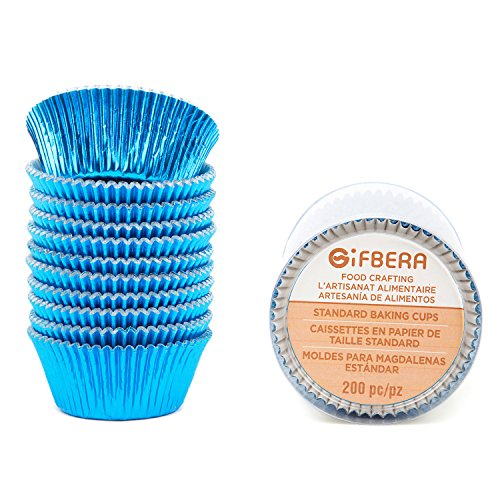 Gifbera Blue Foil Cupcake Liners Standard Muffin Wrappers for Baking, 200-Count