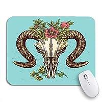 NINEHASA 可愛いマウスパッド 水彩花のスケッチ動物の頭蓋骨の描画自由奔放に生きるタトゥー古い滑り止めゴムバッキングノートブック用マウスパッド