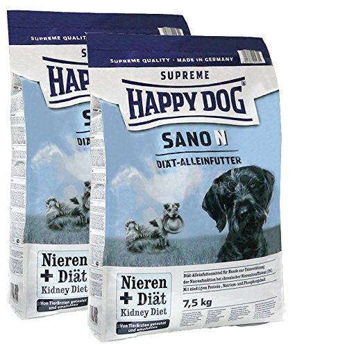 2 x 7,5 kg Happy Dog Sano N Diät-Hundefutter Niere Leber & Herz Erkrankungen
