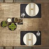 Saltibo ® Platzsets – Abwaschbare Tischsets – Platzdeckchen mit Rutschfester Rückseite – 18-teiliges Filzset mit Glasuntersetzer und Bestecktasche - 5