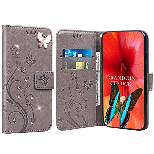 GrandoinChoice für Huawei Honor Play 8A / Y6 Pro 2019, Bling Glitzer Handyhülle im Brieftasche-Stil [Diamant-Serie] PU Leder Ledercase Flip Tasche Wallet Tasche Handytasche Cover Etui Hülle (Grau)