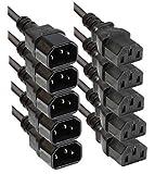 Faconet® Kaltgeräteverlängerung 1m Computer Netzanschluss-Verlängerung um 1 Meter (5 Stück 1.0m)