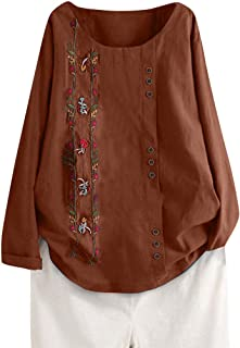 Fankle Women's Cotton Linen Blouse Plus Size Short/Long Sleeve Crewneck Boho Floral Button Tops Vintage Tee Shirts