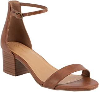 Ankle Strap Stacked Tan Heeled Sandals