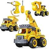 strety Montage Spielzeug Auto LKW 3 In 1 Kinder Auto Spielzeug Jungen Verformtes Lastwagen BAU Kipper Zement LKW Kran Kleinkind Baustelle Konstruktionsspielzeug Auseinander Nehmen Fernbedienung
