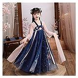 Impresión de estilo chino de gasa floral para niñas, estilo fragante, primavera y otoño, hada infantil y elegante Hanfu (color: estilo B, tamaño: 130 cm)