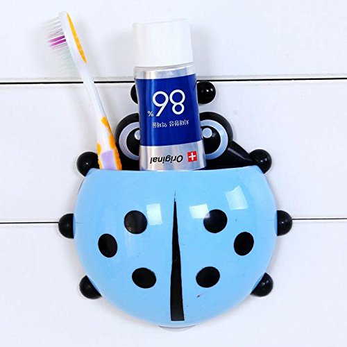 OYJJ Cute Ladybug Shape Toothbrush Holder, Decorative Design Bathroom Storage Organizer Stand Rack - Multi-Functional for Electric Toothbrush, Toothpaste, Cleanser, Comb, Razor