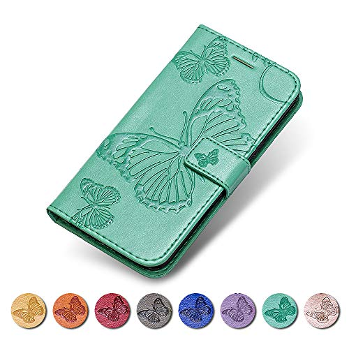 KKEIKO Moto G5S Hülle, Moto G5S Leder Handyhülle Schutzhülle, Schmetterling Muster Stoßsichere Lederhülle Brieftasche Flip Case für Moto G5S - Grün