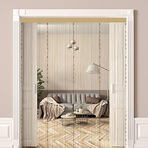 WINSFISH Beaded Curtain Self-Adhesive Door Curtain String Screen Panel Fringe String Curtain String Curtains for Door Wall Window Wedding Coffee House Decorative (Champagne)