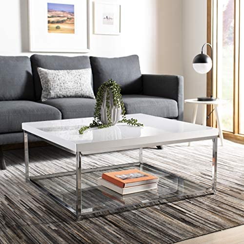 Best Safavieh Home Malone Glam White and Chrome Coffee Table