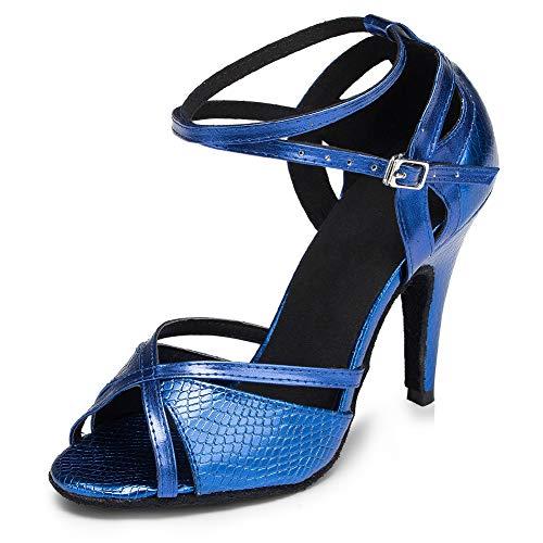 HIPPOSEUS Zapatos de Baile Latino para el salón de Baile con Purpurina y Salsa para Mujer Zapatos de Baile,CY-L035,Azul Color,EU 34