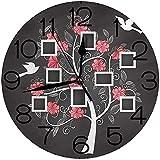 ALLdelete# Wall Clock Reloj de Pared Redondo Decoración para el hogar, Árbol genealógico, Árbol de Recuerdos con Marcos Diseño Inspirado Flores Siluetas de pájaros Volando, Rosa Gris Oscuro