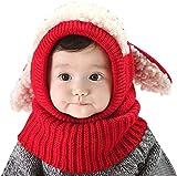Tisi Baby Boys & Girls Warm Knit Cute Dog Hat & Sciarpa Set Bambino Inverno Crochet Beanie Cap-Inverno Modelli Scialle Bambino Un Pezzo Cappello Caldo Bambino Lana Cappello Bambino (Rosso)