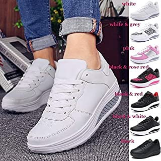 Women Sneakers White Platform Trainers Summer Wedges Casual Shoes Basket Femme Lace Up Zapatillas Deportivas Mujer(Black & White,39(Choose Larger Size))