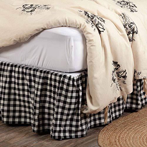 Bettvolant für Doppelbett, 40,6 cm lang, modernes Landhaus-Design, kariertes Gingham-Muster, Staub-Rüschen, Schwarz