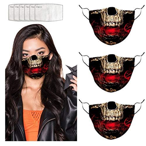 Romantic Adulte Halloween facemãsks Expression d horreur Anti-poussière et Brume Respirante Protection Coton Lavable Màsc avec Joint
