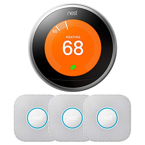 Nest Learning Thermostat - 3rd Generation (Stainless Steel) T3007ES w/ 3-Pack Nest Protect Smoke and CO Alarm, Battery