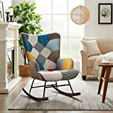 Tribesigns Living Room Rocking Chair, Modern Colourful Rocker Chair Nursery Armchair Accent Chair with Solid Wood Legs, Linen Fabric Nap Chair for Bedroom Studios Small Space