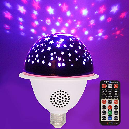 Asiawill E26/E27 LED Bluetooth Music Party Light Star Night Light Projector, RGB Color Changing, Bluetooth Sound Activated Smart Speaker Bulb with Remote Control