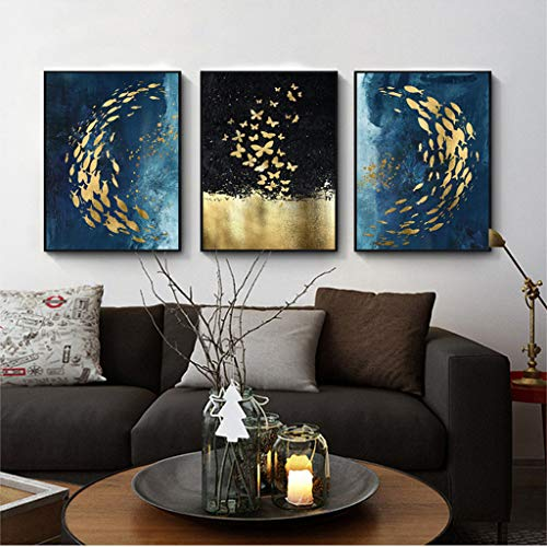 Room Decor - 3pcs Modern Minimalist Wall Mural Painting Sofa Background Wall Hanging Painting 23.6×15.7Inch (Multicolor)