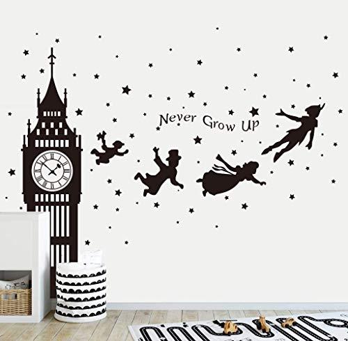 Runtoo Pegatinas de Pared Big Ben Infantiles Stickers Adhesivos Vinilo Peter Pan Decorativas Habitacion Bebe