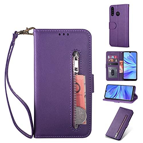 ZTOFERA Huawei P30 Lite Hülle, Magnetisch Folio Flip Wallet Leder Standfunktion Reißverschluss schutzhülle mit Trageschlaufe, Brieftasche Hülle für Huawei P30 Lite - Lila
