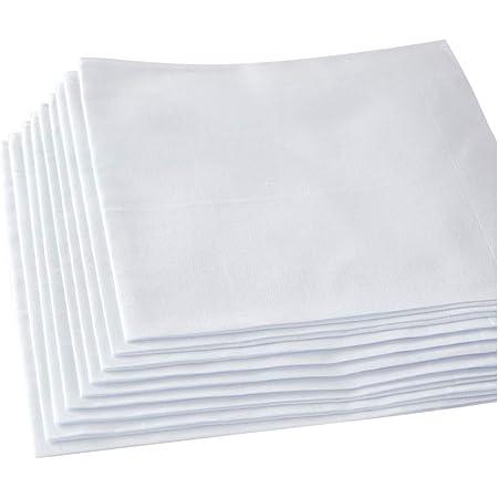 Men's White Handkerchiefs,100% Soft Cotton Hankie