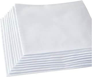 Men's White Handkerchiefs,100% Soft Cotton Hankie