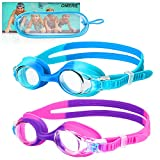 OMERIL Kids Swim Goggles, 2 Pack Swimming Goggles No Leaking Anti Fog Kids Goggles for Boys Girls(Age 6-14)