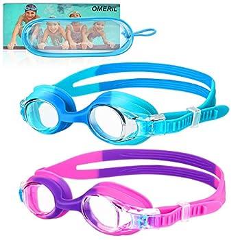 OMERIL Kids Swim Goggles 2 Pack Swimming Goggles No Leaking Anti Fog Kids Goggles for Boys Girls Age 6-14