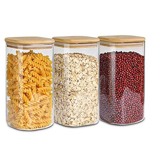 ComSaf 1500ml Vorratsgläser mit Deckel 3er Set, Grosse Glasbehälter Φ10cm Vorratdosen Glas, Luftdichte Vorratsglas zur Aufbewahrung Küchenzutaten, Verratsgläser für Spaghetti, Pasta, Nudeln, Mehl