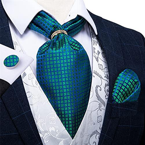 WODMB Hombres vintage teal verde cheque boda formal formal caballero caballero hombre seda cuello corbata plata anillo de oro bolsillo conjunto cuadrado (Color : Gold Ring, Size : One size)