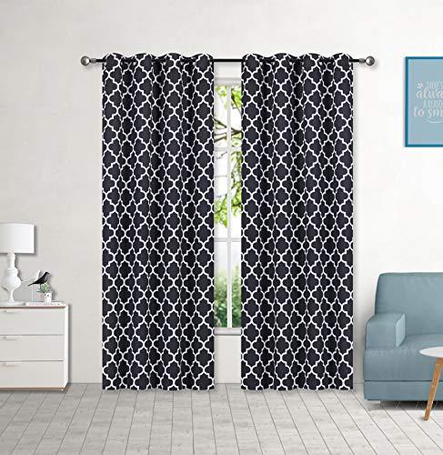 "Set of 2 Grommet 54"" W x 84"" L (108"" Total Width) Decorative Window Curtain Panels, Black/White Moroccan Lattice Room Darkening Soft / Heavy Panels for Living Room/Bedroom, (Hilary 84"" Black)"