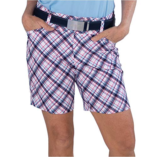 Jofit Apparel Women's Athletic Clothing Playoff Golf Short for Golf & Tennis, Size 16, Cape May Tartan (Pink and Blue)