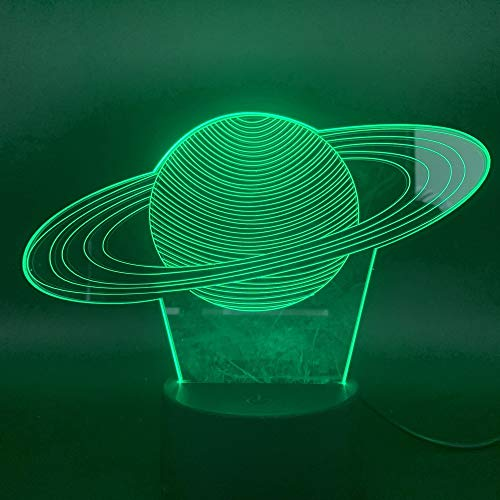 Sonnensystem Saturn 3D Nachttischlampe Visueller Lichteffekt Hübsche Kinder Geschenk Teenager LED Nachtlicht Nachttischlampe