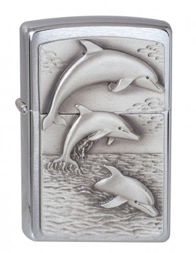 Zippo Zippo Feuerzeug 1900456 Dolphins Emblem Benzinfeuerzeug, Messing Chrome