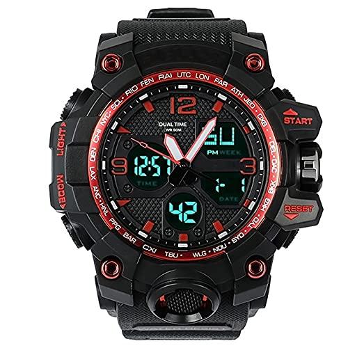 WTYU Reloj Deportivo Digital para Hombre, Deportes al Aire Libre Impermeable cronógrafo Militar Relojes de Pulsera, para Hombres con Fecha de Reloj Luminoso multifunción D