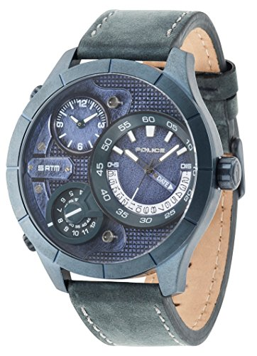 Police 14638XSUBL/03 - Reloj de cuarzo para hombre con esfera y correa de piel azules 14638/03