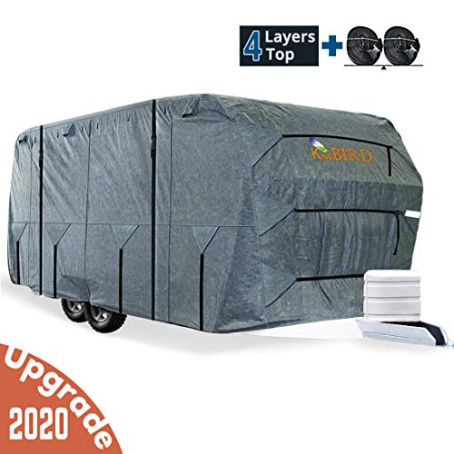 KING BIRD Extra-Thick 4-Ply Top Panel & Extra 2Pcs Reinforced Straps, Deluxe Camper Travel Trailer Cover, Fits 30'- 33' RV Cover -Breathable Water-Repellent Anti-UV with Storage Bag&Tire Covers