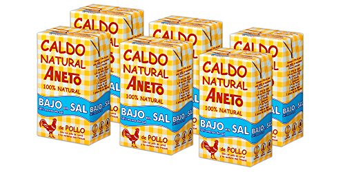 Aneto 100% Natural - Caldo de Pollo Bajo Sal - caja de 6 unidades de 1 litro