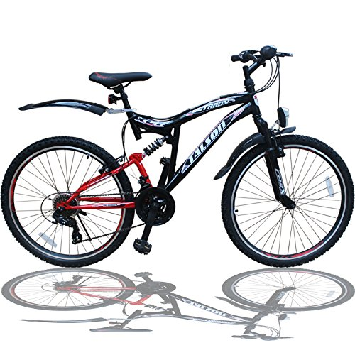 Talson 26 Zoll Mountainbike Fahrrad MIT VOLLFEDERUNG & Beleuchtung 21-Gang Shimano OXT RED