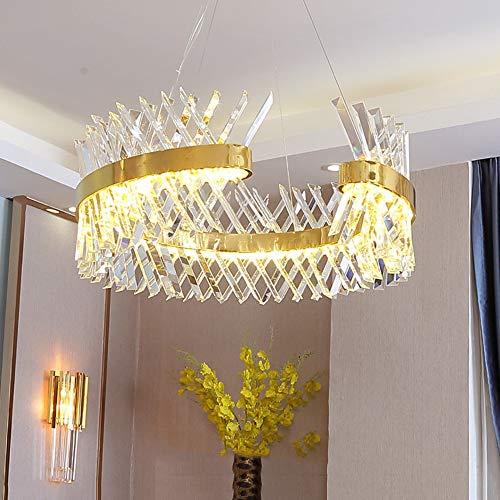 Faus Koco Anillo De Oro Lámpara De Cristal De Lujo Europea 60 * 60 * 23 Cm Lámpara De Techo De Acero Inoxidable Villa Hotel Restaurante Sala De Estar Luz Tricolor