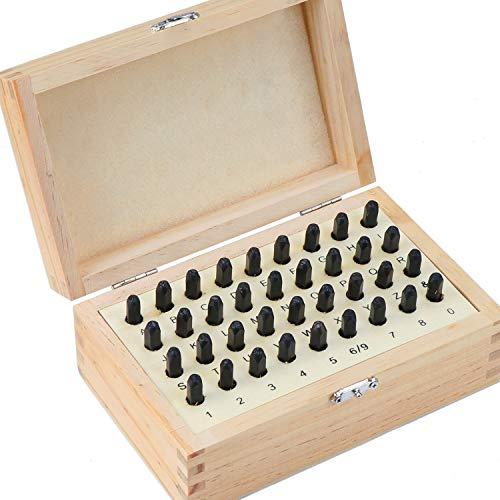 WiMas 36 Piezas Las Letras del abecedario número Sellos, Stamp Punch Set y Caja de Madera, Acero Metal, 3mm